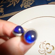 Antique Cobalt Blue Glass Victorian Collar Buttons