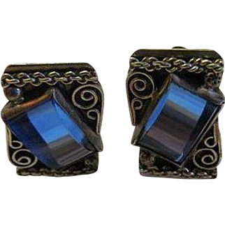 Vintage Mexican 1930s sterling silver Blue Glass earrings signed
