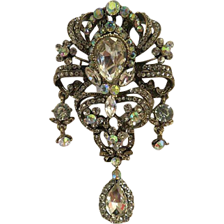 Magnificent Huge vintage Costume Jewelry BROOCH open back large rhinestones