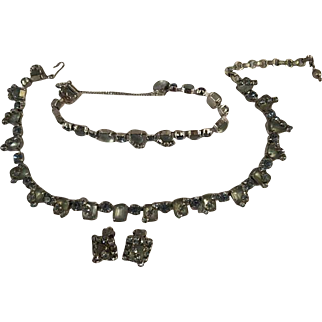 1930s 3 pc blue glass & rhinestone set Bracelet Necklace/choker and earrings