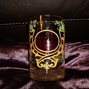 Antique ruby tinted Glass  hand painted Victorian Royalty cup