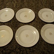 Antique Tea Leaf Ironstone dishes set of 6 lunch plates tealeaf white & Gold