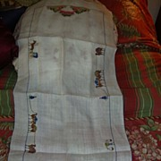 "Antique chinese Traders 32"" runner hand embroidery fine silk thread 1800s"