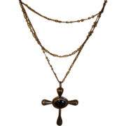 """Antique Religious Onyx & sterling silver cross 60"""" chain Preists belt"""