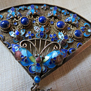 Vintage Chinese Silver BROOCH  Lapis stone & Enamel Butterfly Amazing work