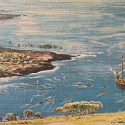 Vintage ORIGINAL VINTAGE Hawaiian  Peter Hurd Print  PETER HURD, the Wyeth of the West
