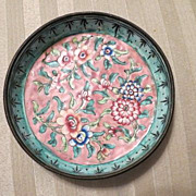 Antique early Cloisonne Dish  Chinese floral motif OUTSTANDING