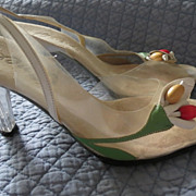Vintage Onex 1970s glass slipper multi leather and lucite heel sz 5