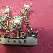 St.John Nautical ship brooch enamel w/ rhinestones hallmarked