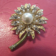 vintage St.John Flower brooch enamel w/ rhinestones hallmarked