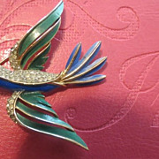 Vintage enamel Crown Trifari signed Bird Brooch