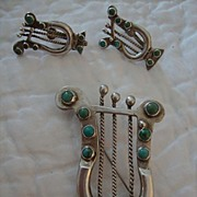 Vintage Sterling Silver& turquoise Harp Brooch & earring set