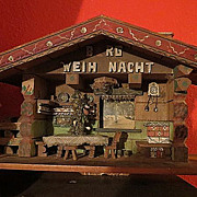 Antique Xmas old Folk German  Tramp Art Berg Weih Nacht Chalet
