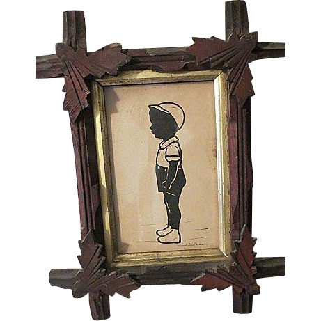 vintage silhouette signed helen fisher in east lake wood frame - Wooden Cross Frame