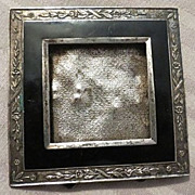 Antique Victorian black enamel and silver Miniature Frame