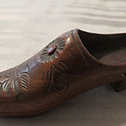 Antique Wood Finely Carved Miniature Shoe