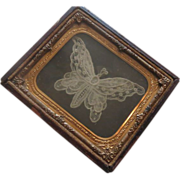 Antique Hand made Lace Butterfly  in Daguerreotype Frame