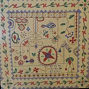Vintage hand painted silk NAKSHI KANTHA