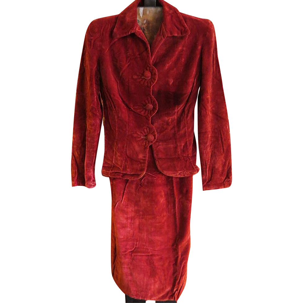 Vintage Womens Red Velvet Skirt And Jacket 1930s Suit From