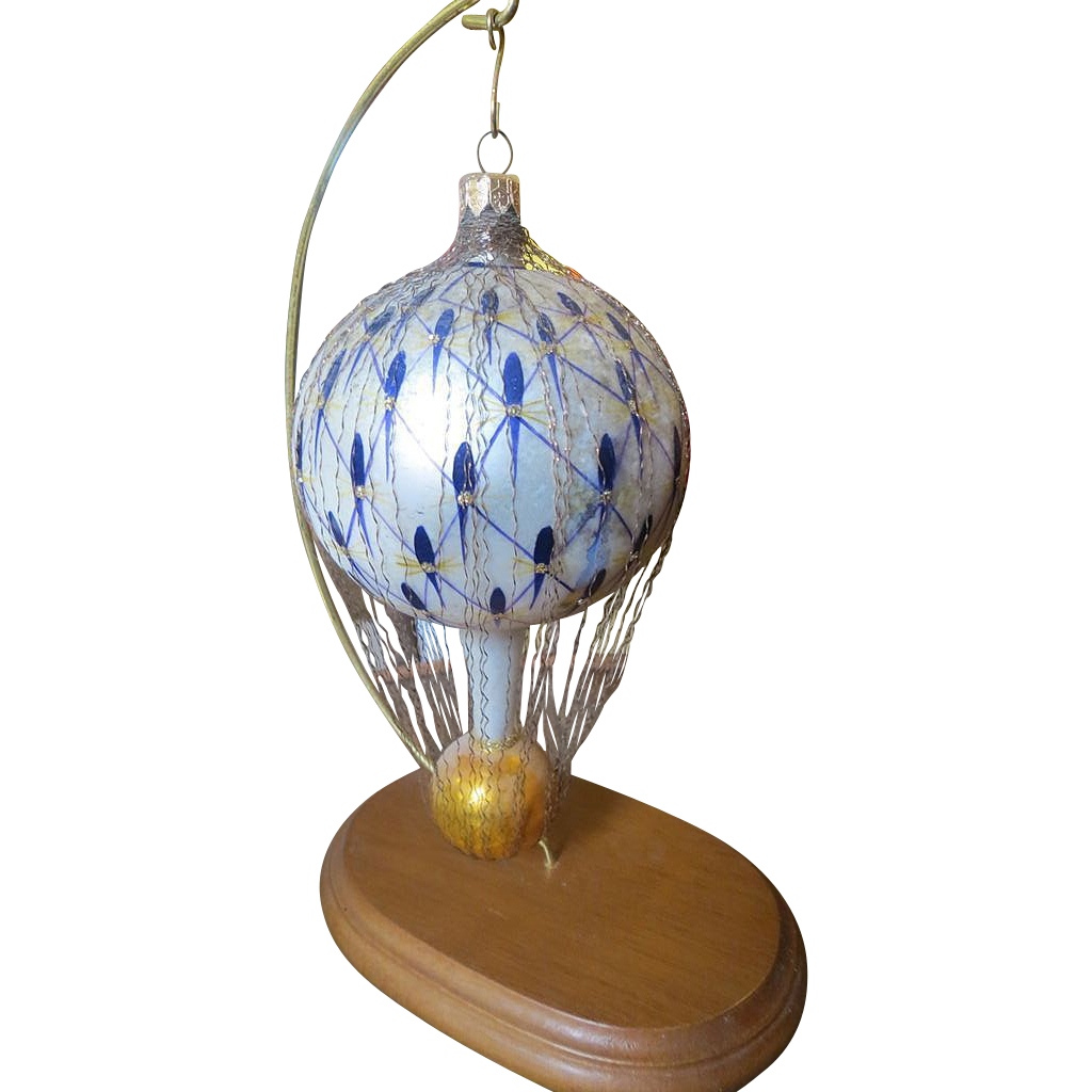 Old glass 8 inch ornament unusual parachute w wire wrap for Quirky ornaments