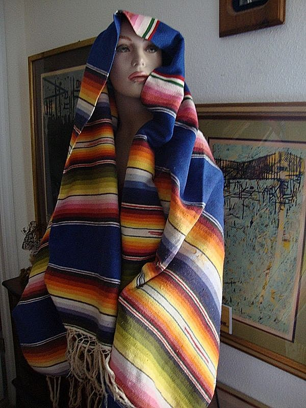 Vintage Mexican Saltillo Mexico wool 1920s weaved Blanket