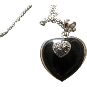 Beautiful Sterling silver Onyx and real Diamond Heart Necklace - Red Tag Sale Item
