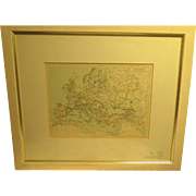 Antique Map Europe Framed c1895