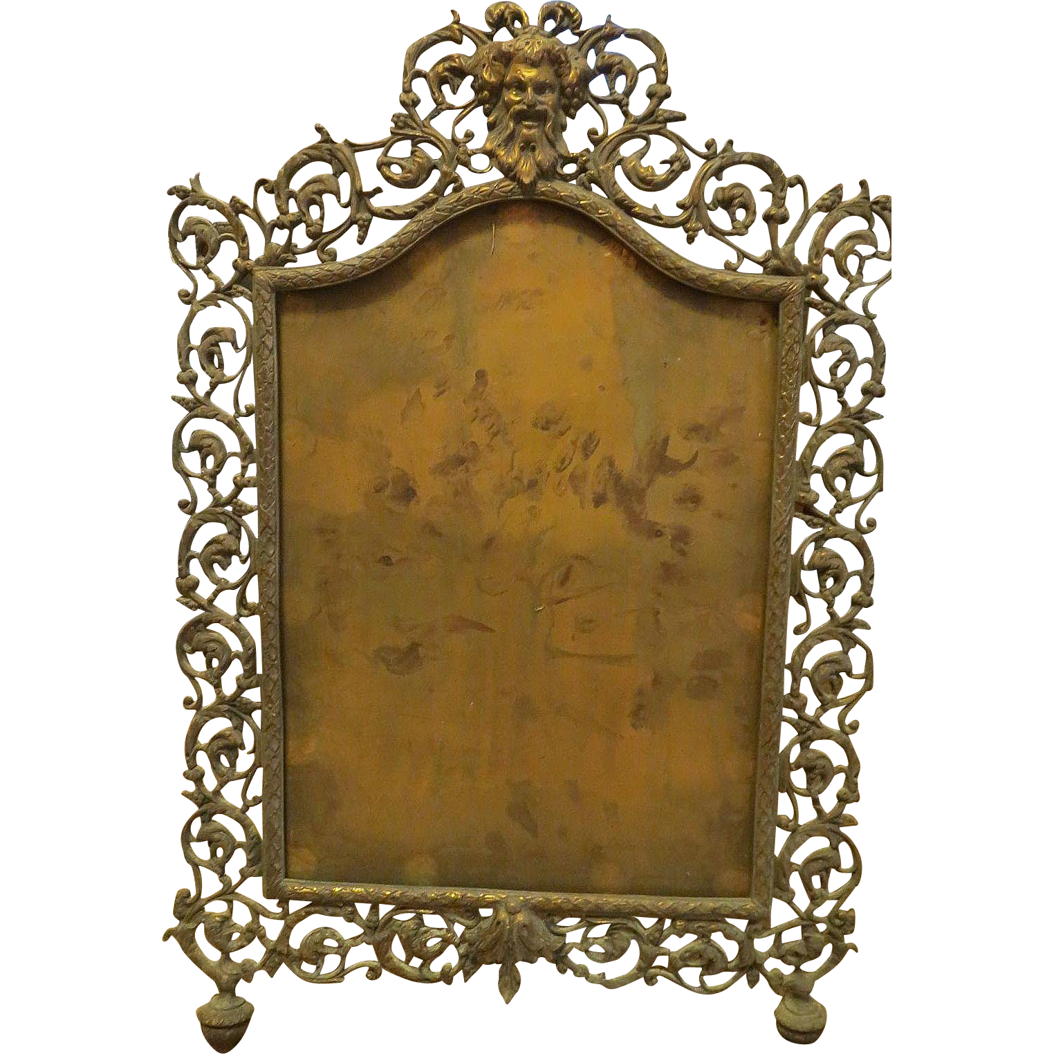 Antique repousse large brass frame highly ornate from for Large a frame