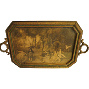 Vintage Rare small size wood and brass tray