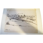 AYERS, Hester, (American, 1902-1975) Landscape Ink Drawing  Estate of Hester Merwin Ayers Volusia County FL stamp verso