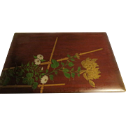Vintage Japanese Wooden box with lacquer decor / painting rose wood dove tailed corners