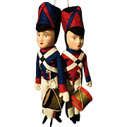 Vintage Two Felt Toy Soldier Dolls