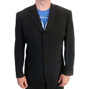 Mens Wool Versace Black Suit Jacket sz 46