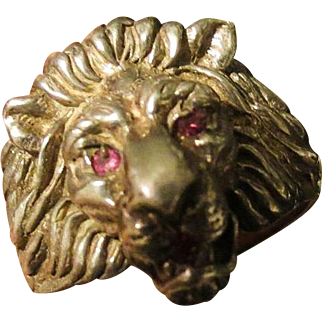 Vintage Mens Sterling Silver Lion Head Ring w real Ruby eyes