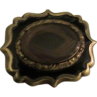 Antique Victorian Mourning Hair and Enamel Brooch