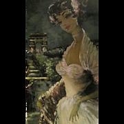 Vintage Eau Forte Originale Painting Paris Scene w Woman- pencil signed