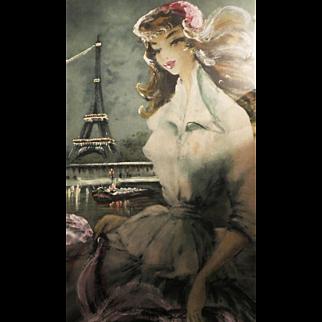 "Beautiful hand painted ""eau forte originale"" Engraving painting"