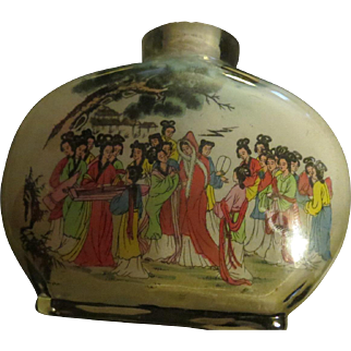 Vintage reverse Glass Painting Chinese Perfume Bottle
