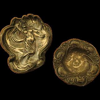 Two Antique Art Nouveau Nude woman Figural Pin Dish