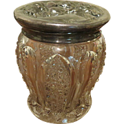 Antique Art Nouveau large cut Glass Jar Floral embossed Lid