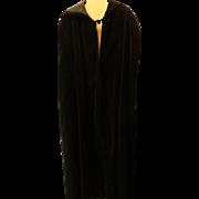 Vintage Black Velvet Opera Cape 52 length with hood