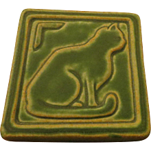 Arts & Crafts pottery Pewabic Detroit 2006 Cat Tile