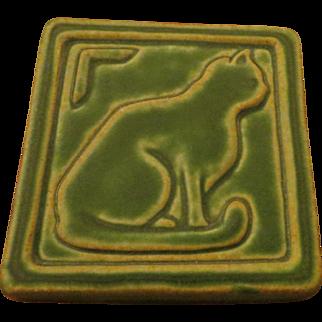 Arts & Crafts pottery Pewabic Detroit 2006 Cat Tile