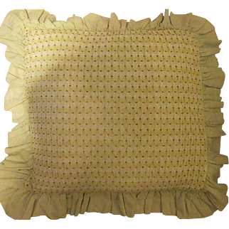 Antique signed 1905 sage green quilted Pillow cover