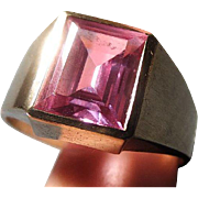 Mens Vintage Hand wrought 10k Gold natural Pink Sapphire Ring