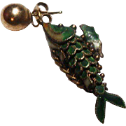 Vintage chinese export Silver Enamel Koi Fish Articulated Pendant
