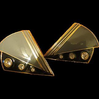 Vintage 1980s enamel earrings by Lawrence Bott signed