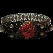 Vintage Glass molded Coral cuff Bracelet