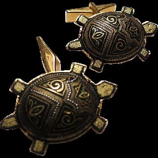 Vintage Mens Cufflinks made in spain turtles