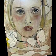 """Original Oil Painting 48x64"""" by Monique Bavaud title ~ My Pet"""